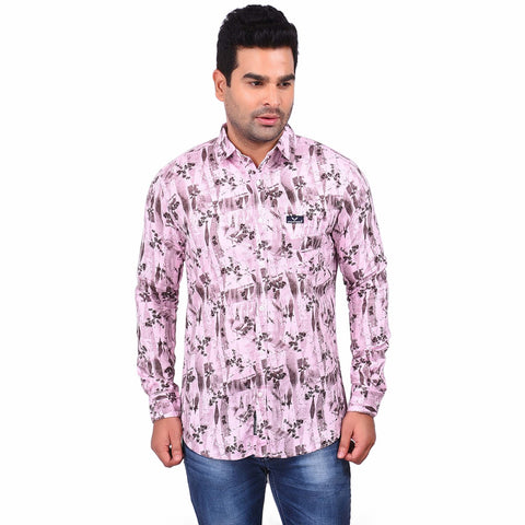 Pink Color Cotton Men's Printed Shirt - SS19AMCSH1010