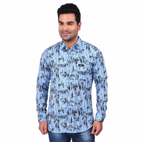 Blue Color Cotton Men's Printed Shirt - SS19AMCSH1011