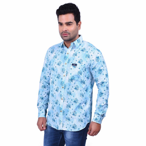 Light Green Color Cotton Men's Printed Shirt - SS19AMCSH1022