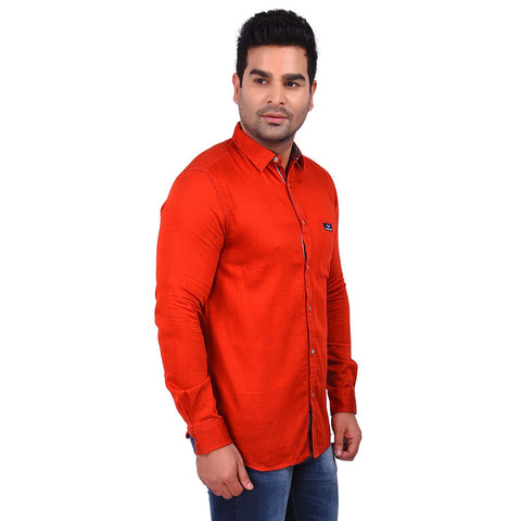 OrangeColor Cotton Men's Solid Shirt - SS19AMCSH1025