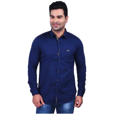 Navy Blue Color Cotton Men's Solid Shirt - SS19AMCSH1027