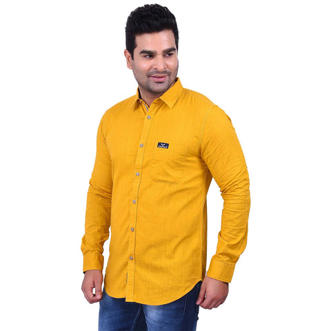 Yellow Color Cotton Men's Solid Shirt - SS19AMCSH1028