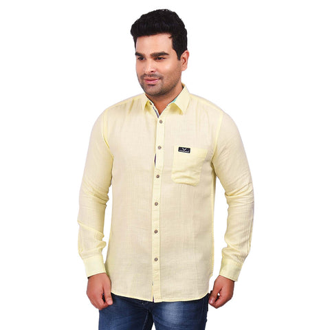 Light Yellow Color Cotton Men's Solid Shirt - SS19AMCSH1031