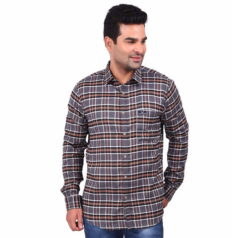 Gray Color Cotton Men's Checkered Shirt - SS19AMCSH1037