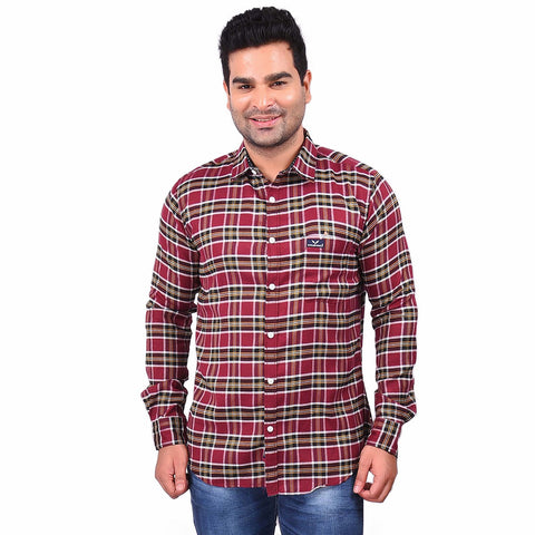 Red Color Cotton Men's Checkered Shirt - SS19AMCSH1038
