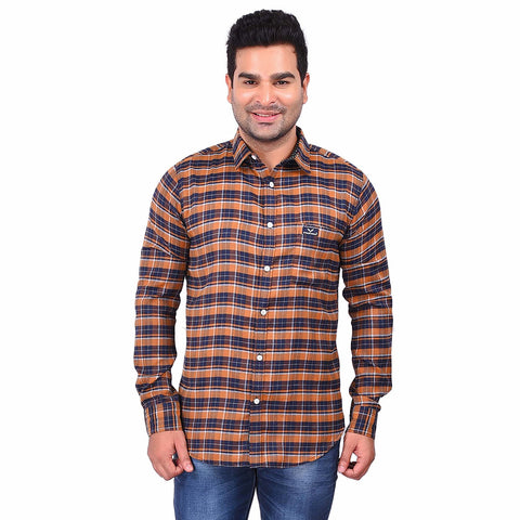 Brown Color Cotton Men's Checkered Shirt - SS19AMCSH1039