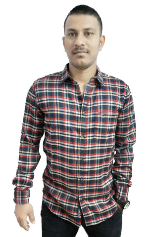 Red Color Cotton Men's Checkered Shirt - SS19AMCSH1045