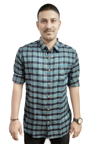 Blue Color Cotton Men's Checkered Shirt - SS19AMCSH1052