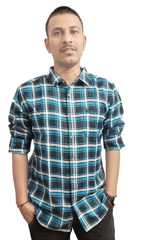 Blue Color Cotton Men's Checkered Shirt - SS19AMCSH1054