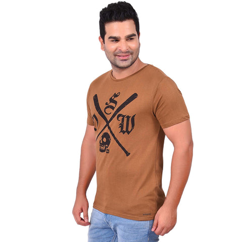 Brown Color Cotton  Men's Printed TShirt - SS19AMCTE1002