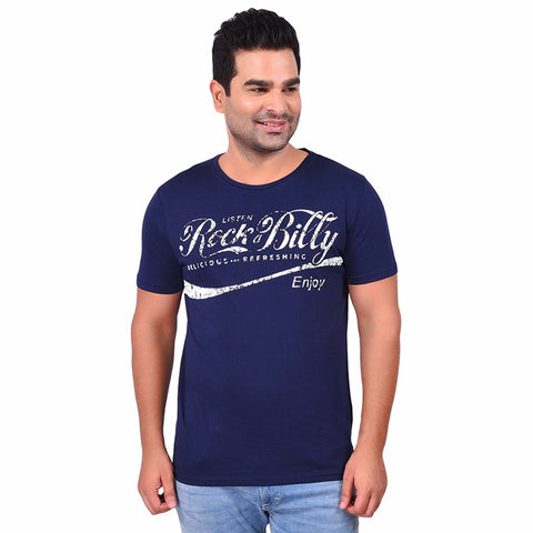 Navy Color Cotton  Men's Printed TShirt - SS19AMCTE1008