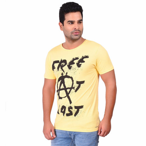 Yellow Color Cotton  Men's Printed TShirt - SS19AMCTE1010
