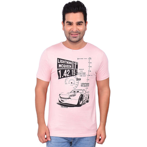 Light PinkColor Cotton Men's Printed TShirt - SS19AMCTE1014