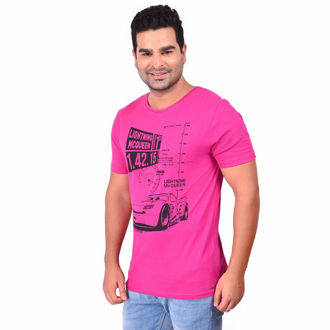 Pink Color Cotton  Men's Printed TShirt - SS19AMCTE1015