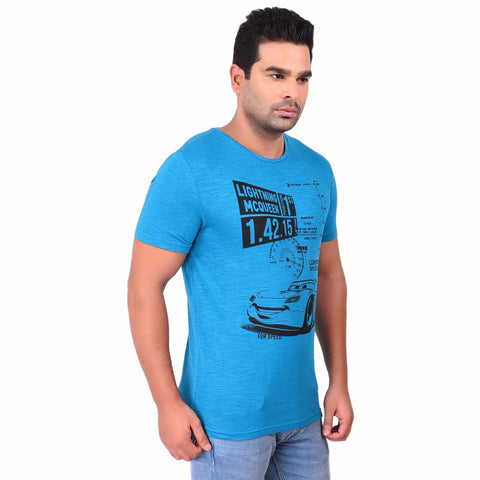 Sky Blue Color Cotton  Men's Printed TShirt - SS19AMCTE1017
