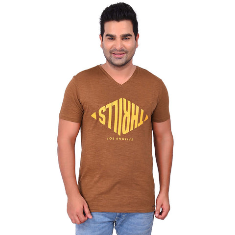 BrownColor Cotton Men's Printed TShirt - SS19AMCTE1021