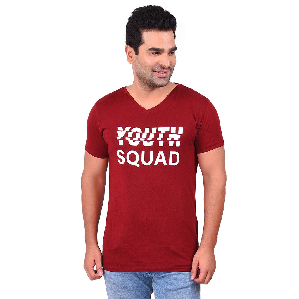 Buy Maroon Color Cotton Men's Printed TShirt