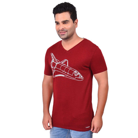 Maroon Color Cotton  Men's Printed TShirt - SS19AMCTE1025