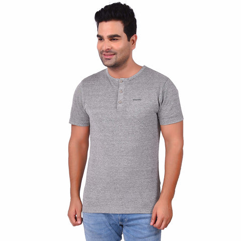 Grey MelangeColor Cotton Men's Printed TShirt - SS19AMCTE1030