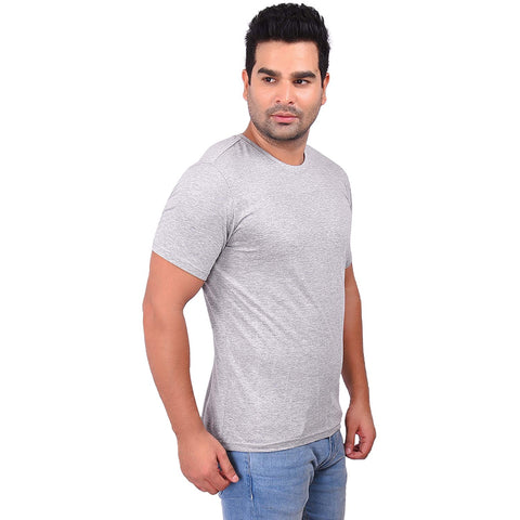 Grey Melange Color Cotton Men's Solid TShirt - SS19AMCTE1032
