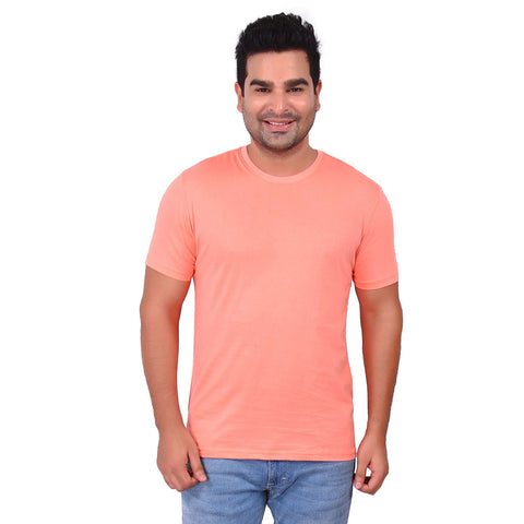 Copper TanColor Cotton Men's Solid TShirt - SS19AMCTE1041