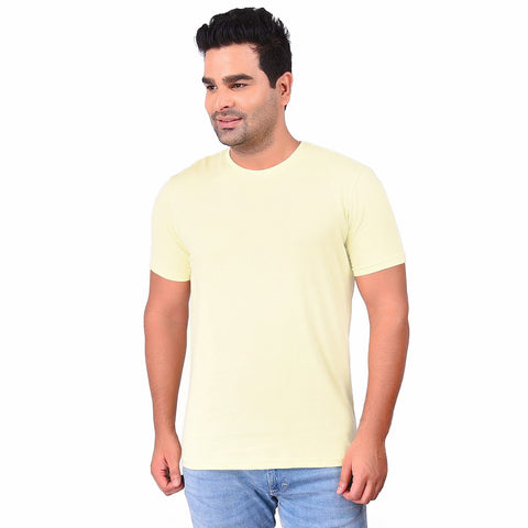 Promise YellowColor Cotton Men's Solid TShirt - SS19AMCTE1042