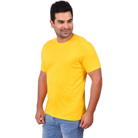 Dark YellowColor Cotton Men's Solid TShirt - SS19AMCTE1052