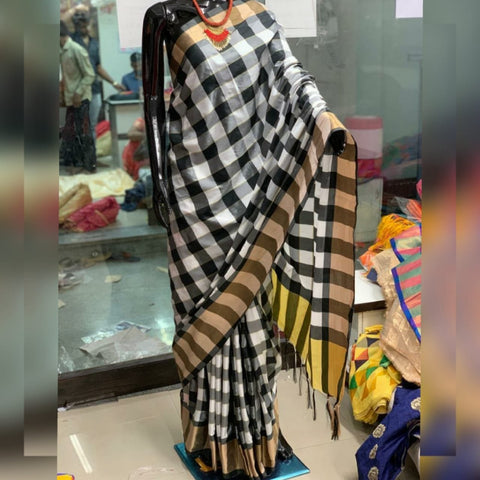 Black And White Color Silk Saree - SS2D2-BLACK-WHITE