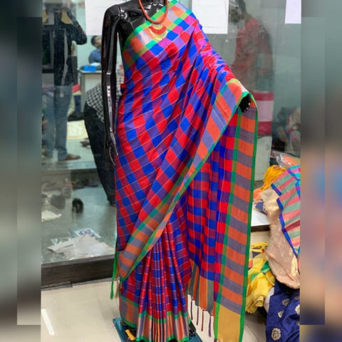 Blue And Red Color Silk Saree - SS2D2-BLUE-RED