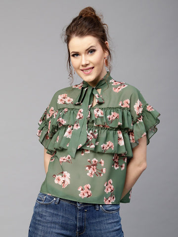 Green Color Franch Crepe Printed Top - SSK-3018