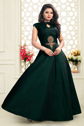Dark Green Color Twill Tapeta Stitched Gown - SSK-3021