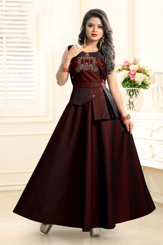 Wine Color Twill Tapeta Stitched Gown - SSK-3024