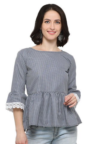 Blue and White Color Soft Cotton Stitched Top - SSK-3034