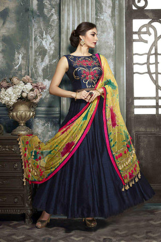 NavyBlue Color Heavy Banglori Gown - SSK-3041