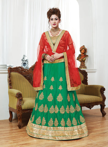 Green Color Chinnon UnStitched Lehenga - ST-10621