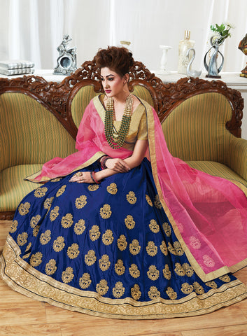 Navy Blue Color Chinnon UnStitched Lehenga - ST-10623