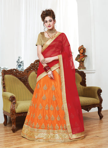Orange Color Chinnon UnStitched Lehenga - ST-10626