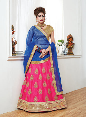 Pink Color Chinnon UnStitched Lehenga - ST-10627