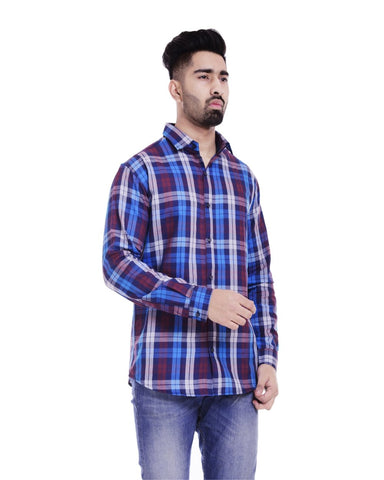 White and Sky Blue Color Cotton Men's Checkered Shirt - ST347