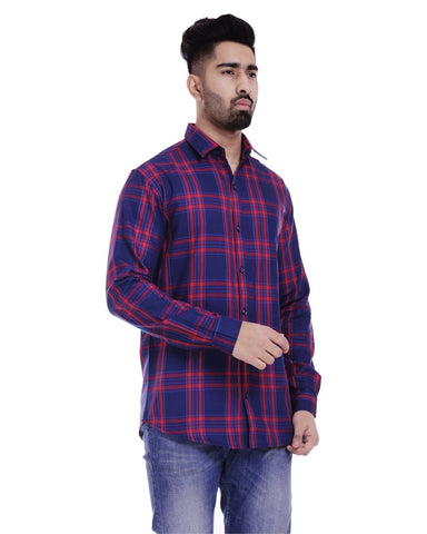 Dark Blue and Red Color Cotton Men's Checkered Shirt - ST348