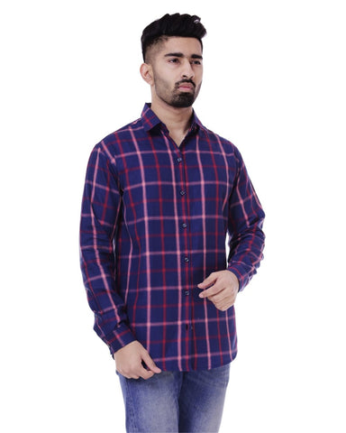 Blue and White Color Cotton Men's Checkered Shirt - ST349