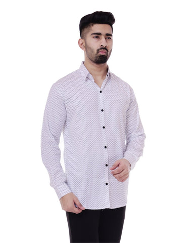 White Color Cotton Men's Printed Shirt - ST356