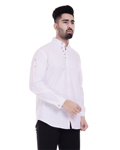 White Color Cotton Men's Solid Shirt - ST358