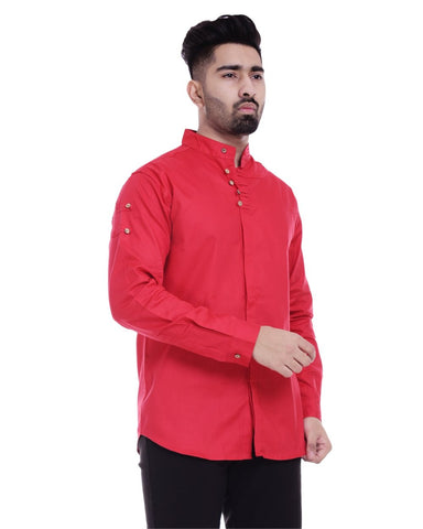 Red Color Cotton Men's Solid Shirt - ST363
