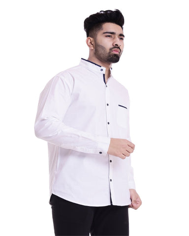 White Color Cotton Men's Solid Shirt - ST366