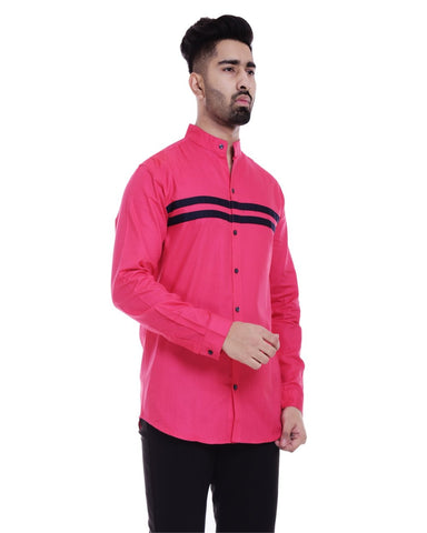 Pink and Dark Blue Color Cotton Men's Solid Shirt - ST367