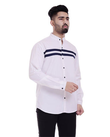White, and Dark Blue Color Cotton Men's Solid Shirt - ST369