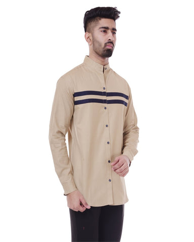 Beige and Black Color Cotton Men's Solid Shirt - ST370