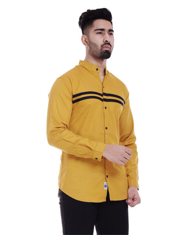 Yellow and Black Color Cotton Men's Solid Shirt - ST371