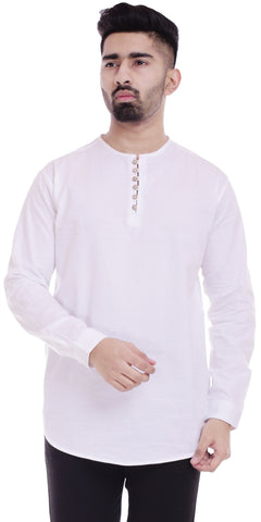 WhiteColor Cotton Men's Solid Shirt - ST372